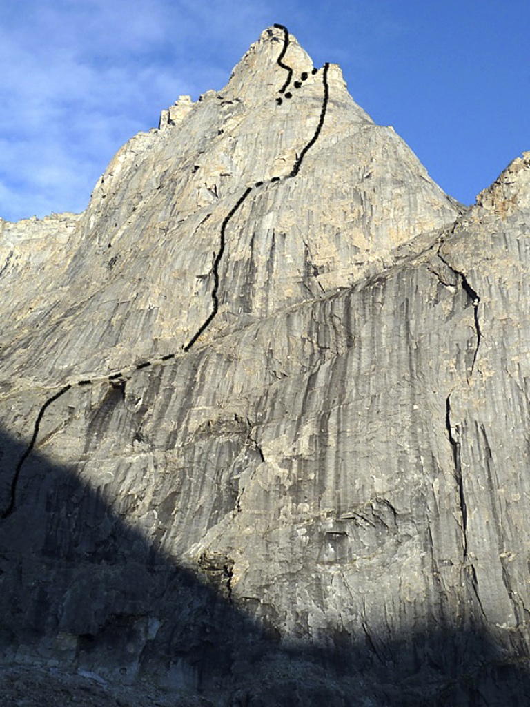Line climbed by Nestler and Stucki on south face of Parabola.