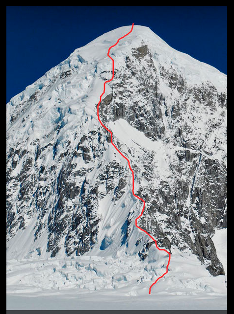 The line of the Italian route up the west ridge of West Kahiltna Peak.
