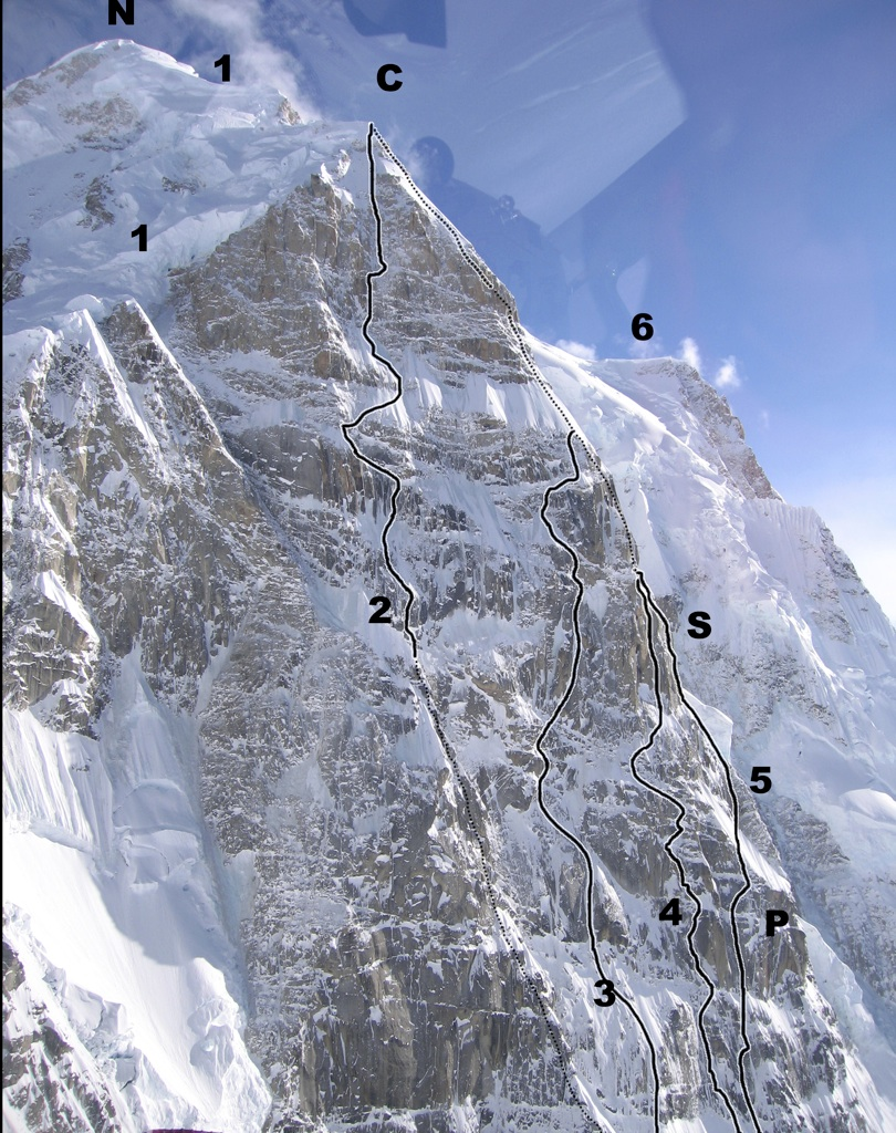 Aerial view of eastern aspect of Hunter's north buttress. (N) North (main) summit. (C) Cornice Bivouac. (1) Northeast Ridge (1971). (2) French Route (1984). (3) Wall of Shadows (1994). (4) Cartwright Connection (2011). (5) Bibler-Klewin/Moonflower (1983), with (P) Prow and (S) Shaft. (6) West Ridge (1954).