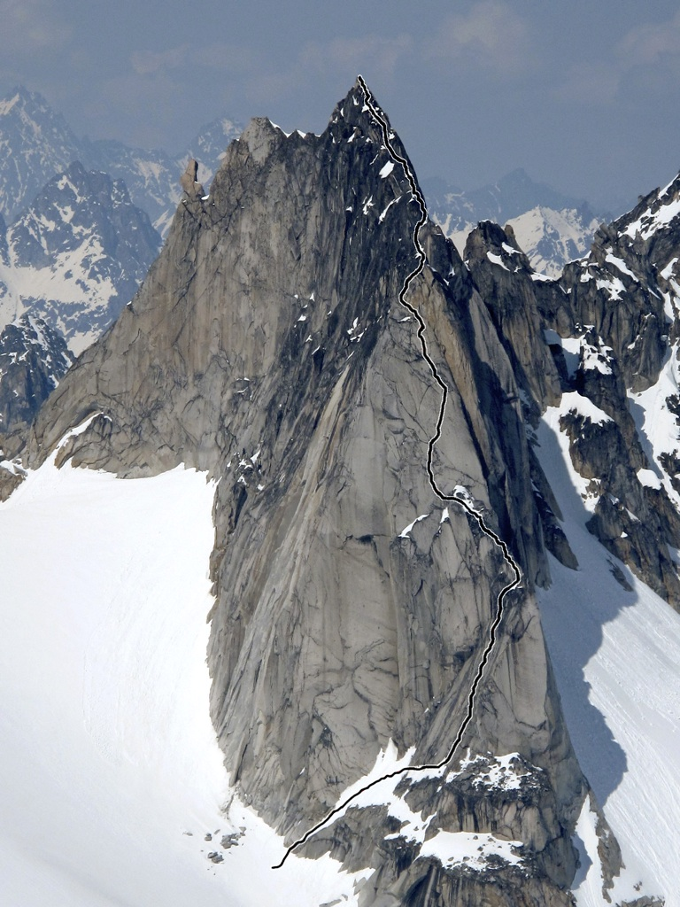 Dog Tooth, with line of first ascent via east ridge.