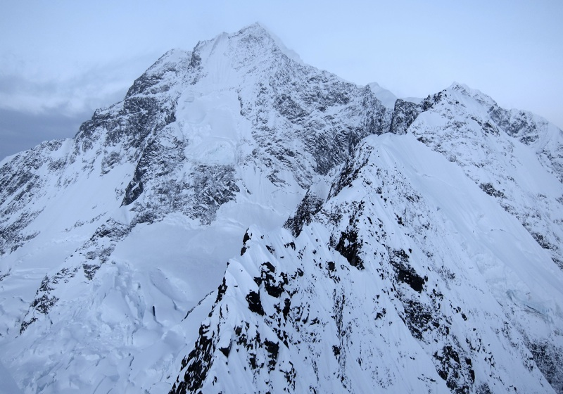 Unclimbed upper north ridge of Orville from 8,074' foresummit.