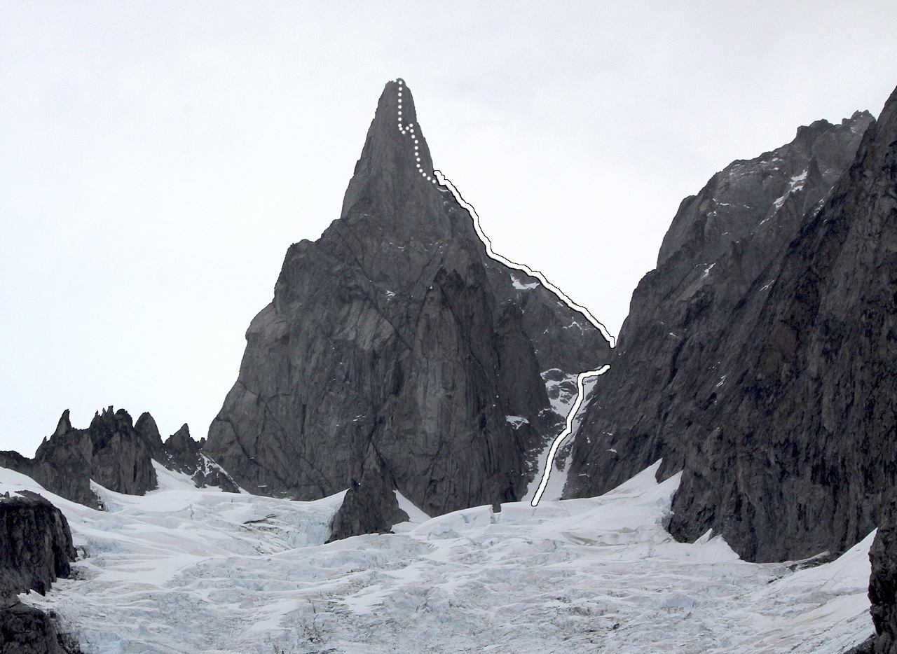 Burkett Needle, showing Repeat Offender on east arête. For lines on face to left, see AAJ 2010, p. 134.
