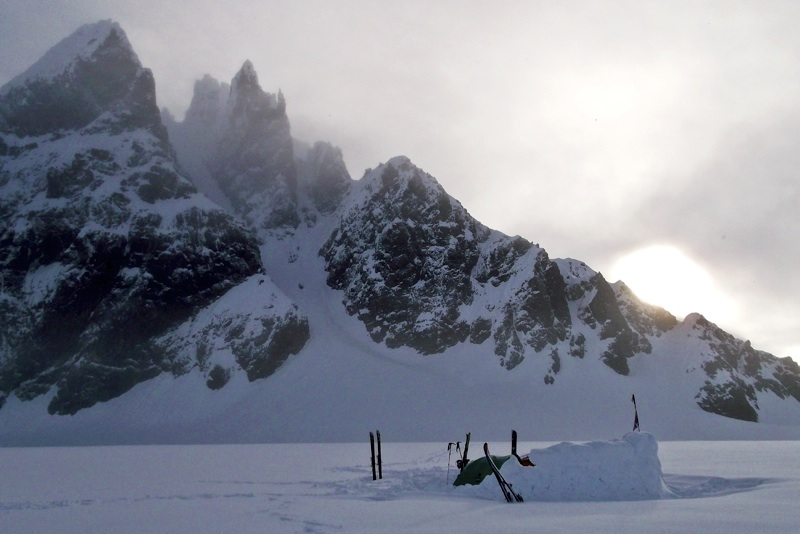 Camp below Couloir Peak. Prominent central couloir was climbed by Beckey and Griscom in 1949 and skied in 2011.