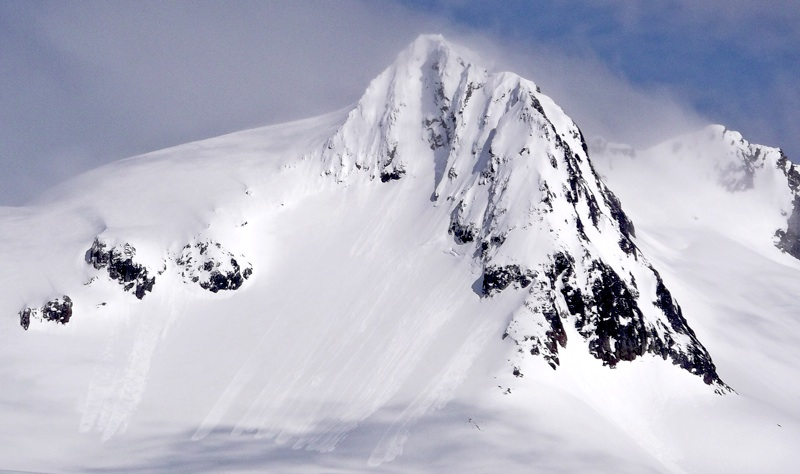 Unnamed Peak 1,920m, east of Devil's Paw, from south. Middle of south face was skied (Royal Wedding).
