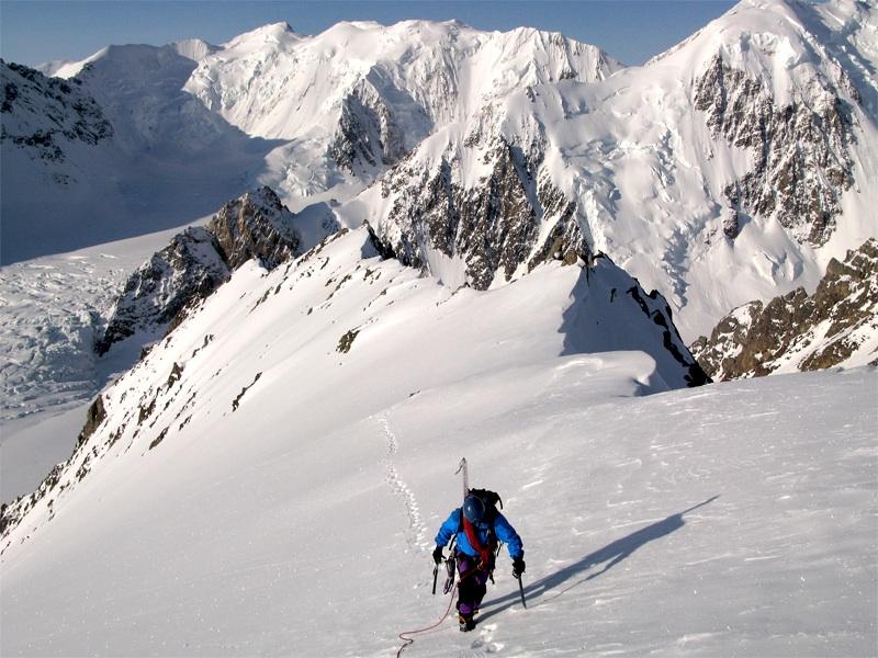 Jonathan Wakefield on final part of south-southeast ridge of Peak 3,450m.