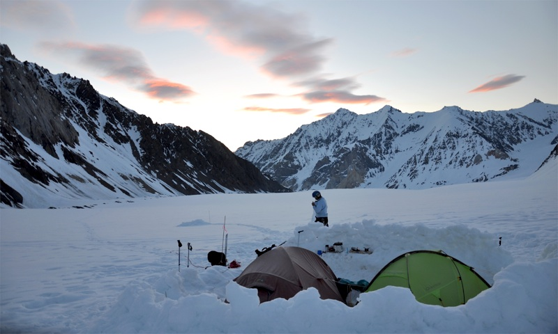 View east from base camp. Lower slopes of Peak 3,450m on left. Peaks in distance lie on far side of the Stairway Glacier.