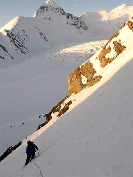 Jonathan Wakefield on south-southeast face of Peak 3,450m.