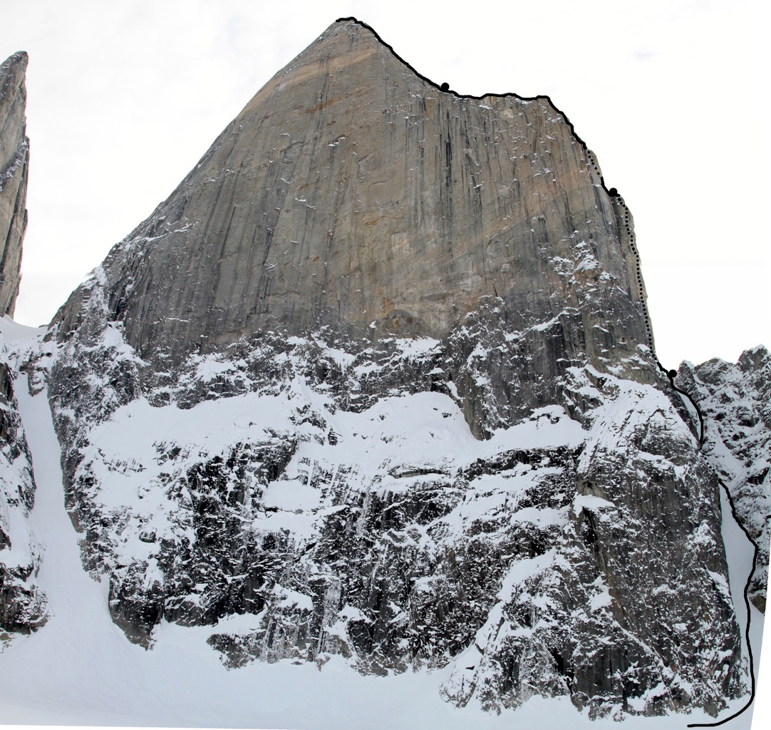 Main Shark's Tooth rises over 900m from glacier. Marked is Dance on Tiptoes with bivouac sites.