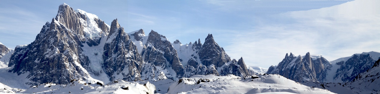 Renland's alpine peaks hold great potential. These lie on south side of Edward Bailey Glacier, west of Shark's Teeth Glacier.