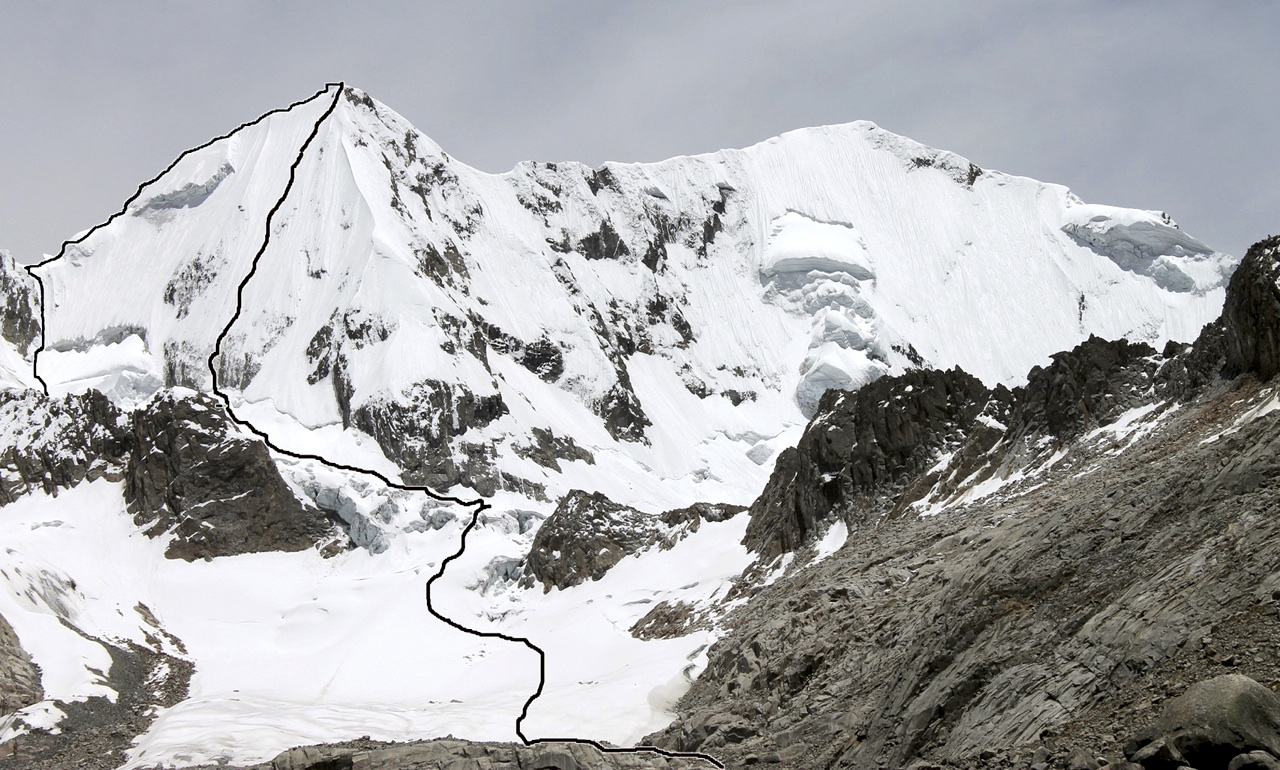 Tunshu massif from southeast. North summit on right. Marked are ascent route on southeast face and descent of south ridge.
