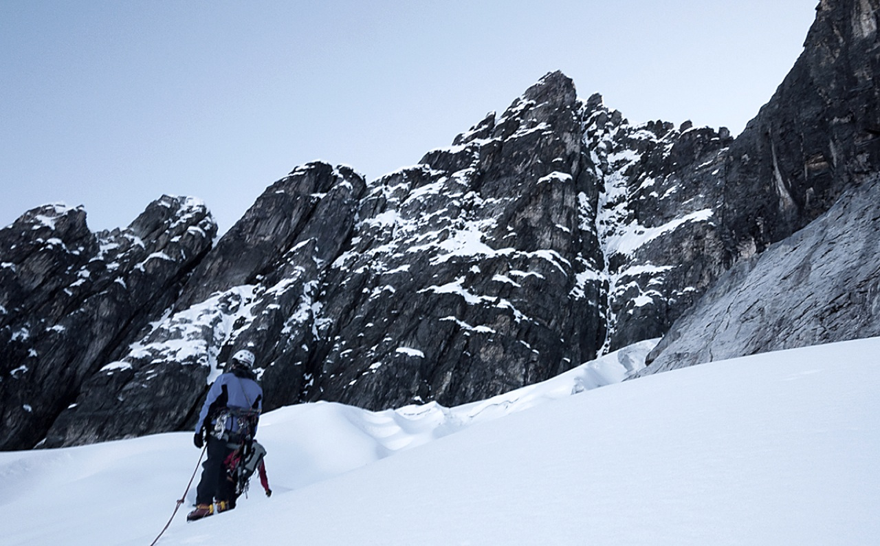 South face of Huarancayo Sur, with snow/ice gully of Boys Don't Cry falling from just right of highest point.