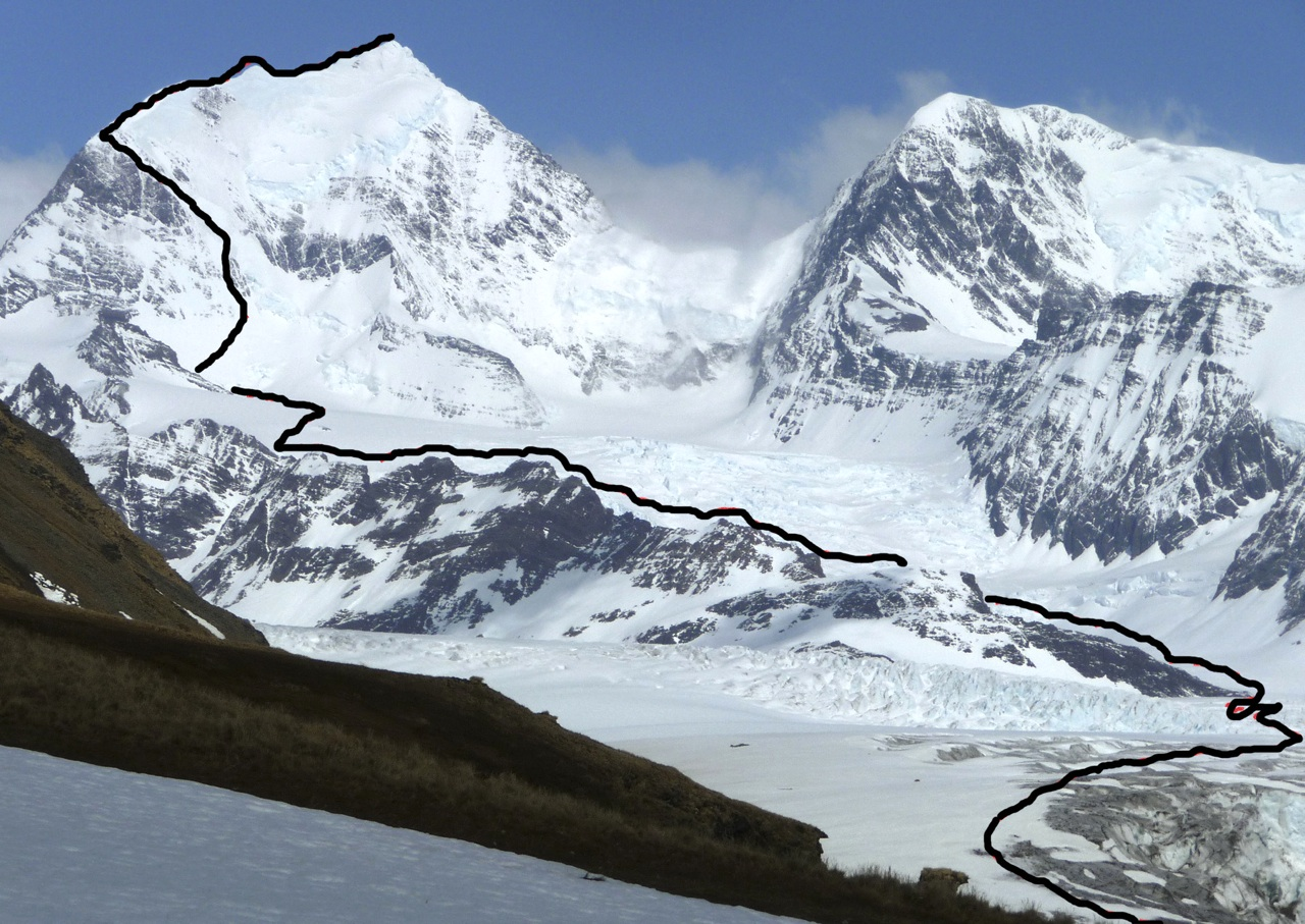 Nordenskjold, with 2011 route. To right is east summit of Roots (2,270m), climbed by British team in 2001.