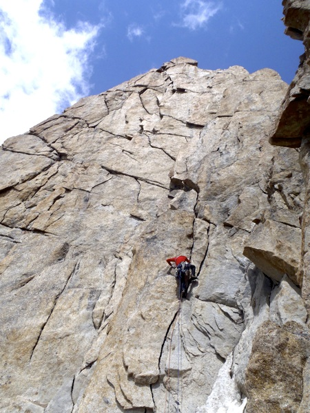 Jim Donini on superb granite of southeast face of Shahnameh.