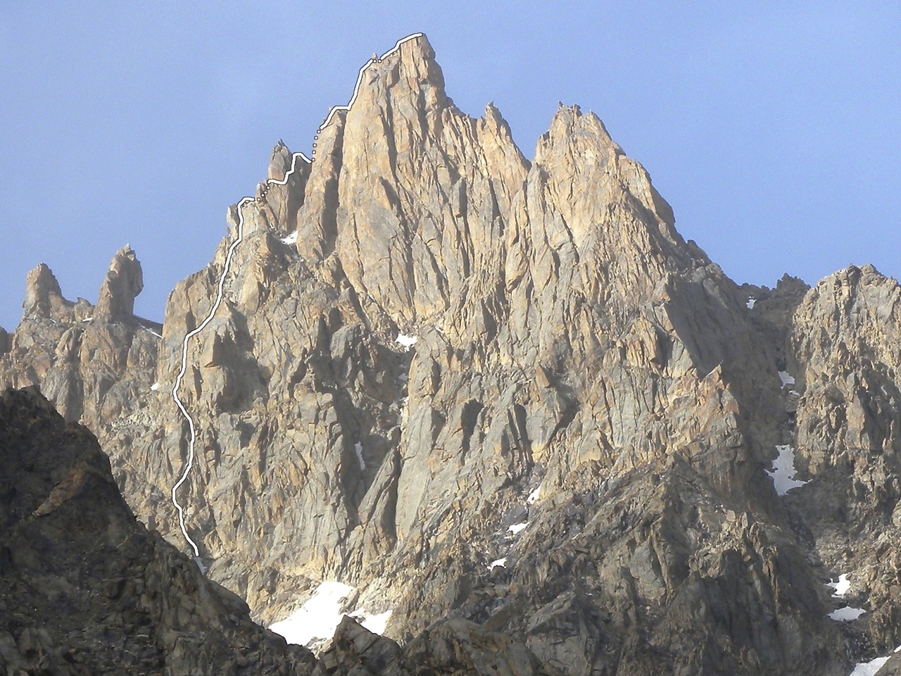 Church-Flemming-Weidner route on west face of Rostam.