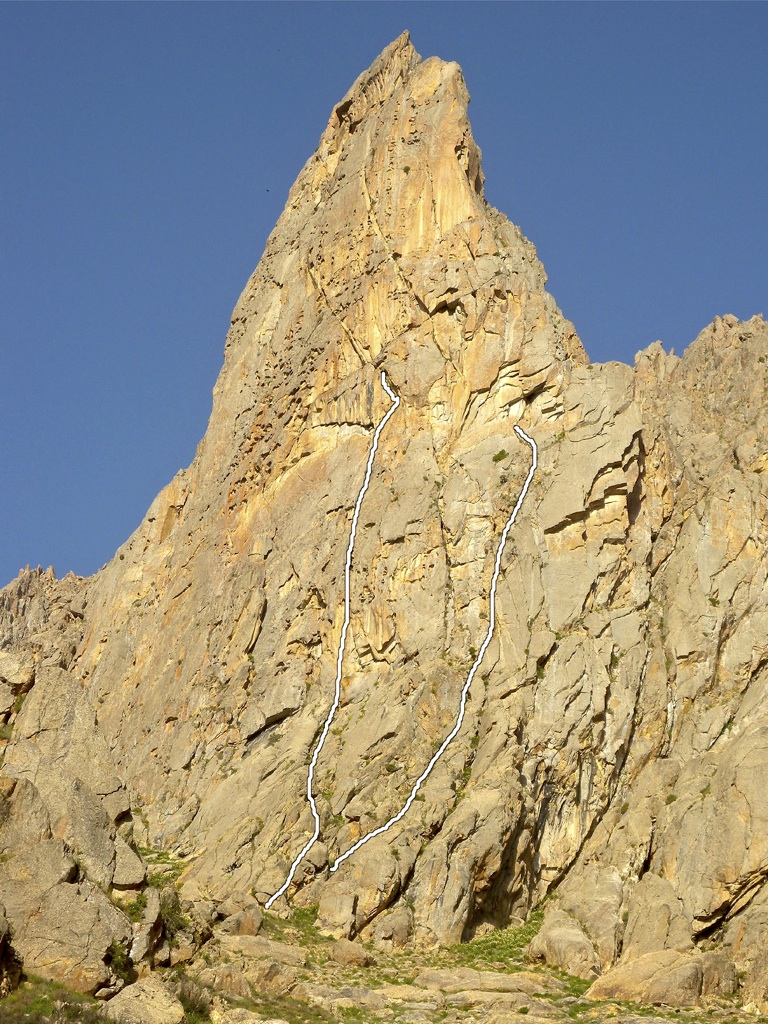 The two lines attempted on the east face of the Tooth.