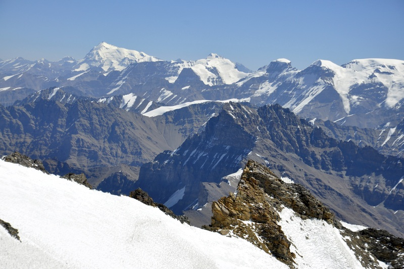 Shakhdara Range seen from Mayakovsky. High snowy pyramid on left is Pik Karl Marx (Qullai Marx, 6,736m).