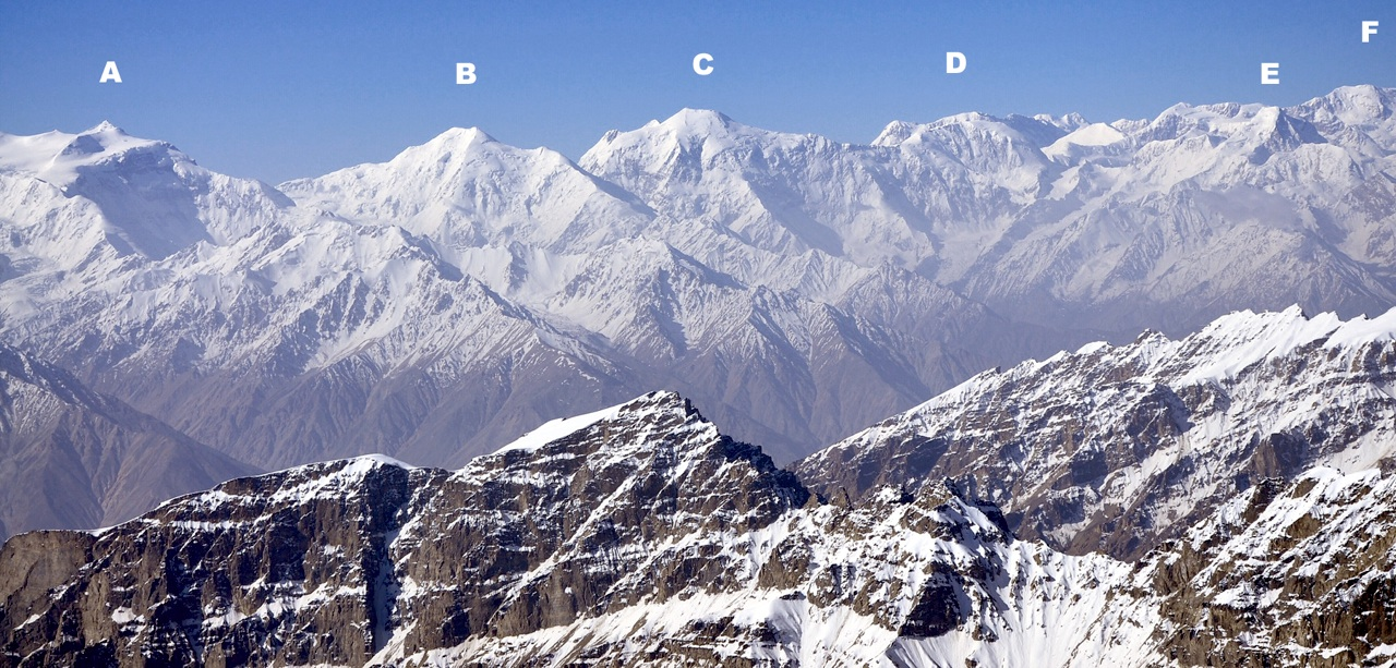 Identification of distant peaks is an inexact science. Seen from Pik Moscow Olympic Games to the northeast, the high Afghan peaks of; (A) Koh-e-Langar (7,070m, north of Saraghrar Massif. (B) Languta-e-Barfi (6,827m). (C) Shakhawr (7,116m), (D) Koh-e-Nadir Shah (6,814m), (E) Koh-e-Keshni Khan (6,755m) and (F) Part of Noshaq Massif (7,492m).