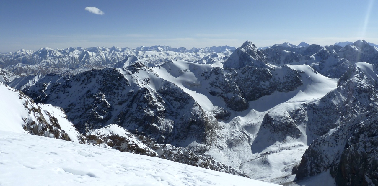 Looking south-southeast during ascent of Pik 4,815m at unclimbed peaks in northern Borkoldoy.