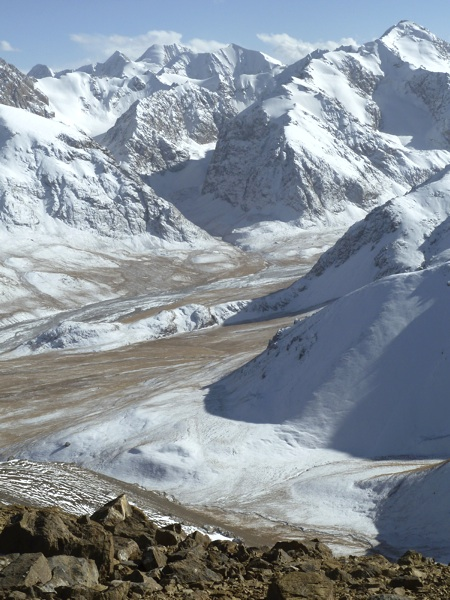 Looking southeast at unclimbed peaks of Borkoldoy from summit of Pik 4,350m.