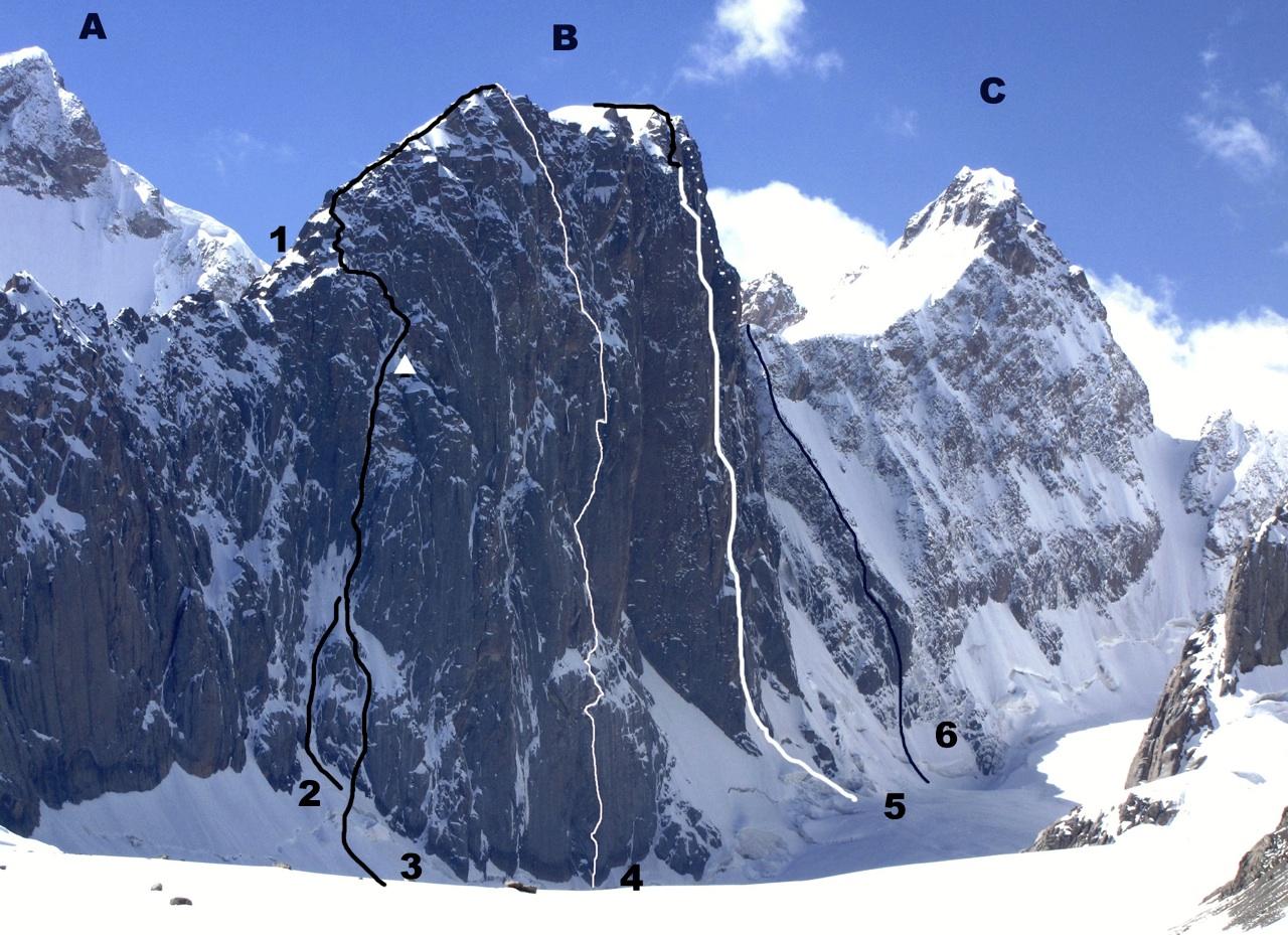 Looking south-southeast over Kyzyl Asker Glacier. (A) Pik Unmarked Soldier (5,352m). (B) Pik Vernyi (ca 5,250m). (C) Pik Panfilovski Division (5,290m). (1) North ridge (600m, TD+ Scottish 6, Crampton-Fyffe, 2002, repeated in 2003). (2) 2009 Krol- Sokołowski attempt. (3) Cztery Pory Roku (direct start). (4) No Shachlik (700m, 6c A3 M6, Christie-Gal-Gal-Gottefrey, 2010). (5) Belorussian-Russian Route (750m, Russian 6B, Bandelet-Malakhovskiy-Mikhailov-Nilov, 2009). (6) Original 1988 Soviet route—northwest face and south ridge.
