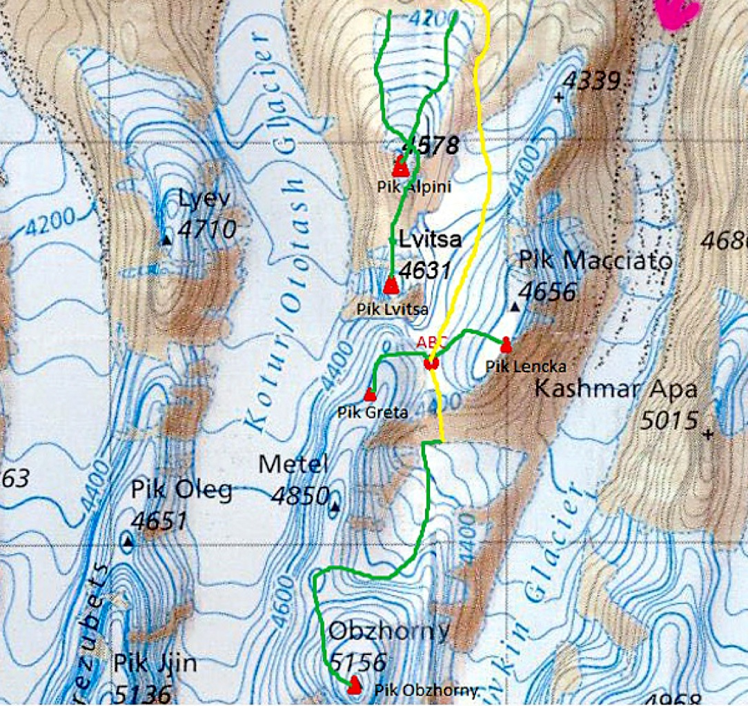 Kotur-Nalivkin divide, showing routes climbed (and some skied) by 2011 Slovenian expedition.