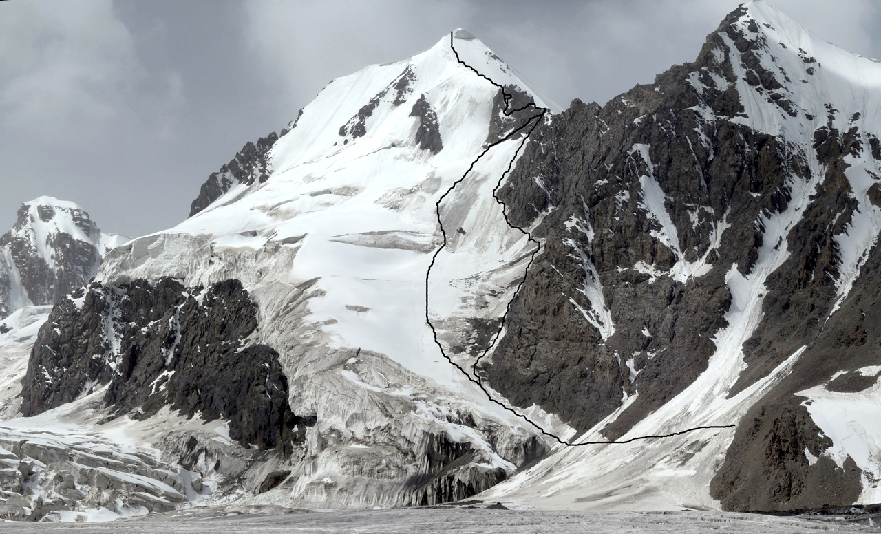 Pik Eggemenduluk showing routes followed on first ascent. Left-hand line is 28 Hours Later. Apparent peak in background lies on Kyrgyz-Chinese border but is actually a northerly shoulder of a higher summit entirely in China. Summit to right, on ridge north of Eggemenduluk, is unclimbed.