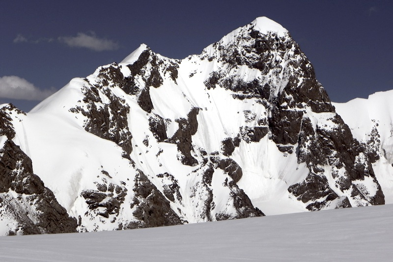Pik 5,318m from summit of Pik Emma. Left skyline is north ridge, which team planned to gain just left of foresummit.