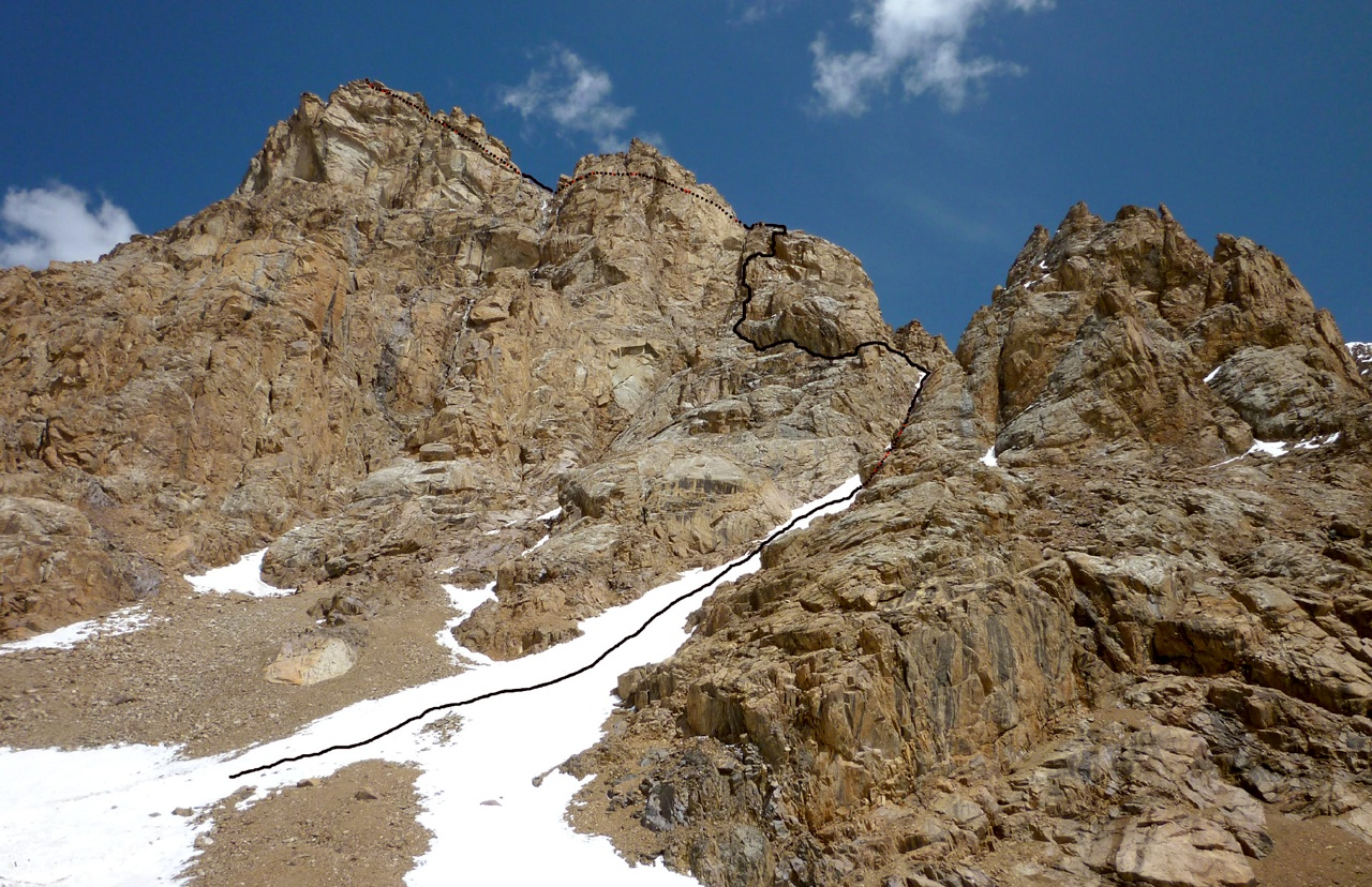Pik 4,887m south summit, with route up west couloir and south ridge.