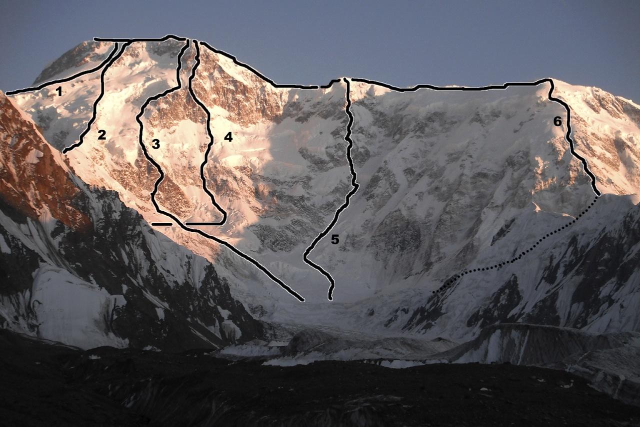 North face of Pik Pobeda from South Inylchek Glacier. (1) Northeast Face (5B, Zuravliov, 1990). (2) Original route (5B, Abalakov, 1956). (3) Dollar Route (5B, Smirnov, 1982). (4) Dollar Rod (6B). (5) Camel Buttress (6B, Gorelik-Sokolov, 2009). (6) Normal route (north spur to west ridge over 6,918m Pobeda West, 5B, Medzmariashvilli, 1961).