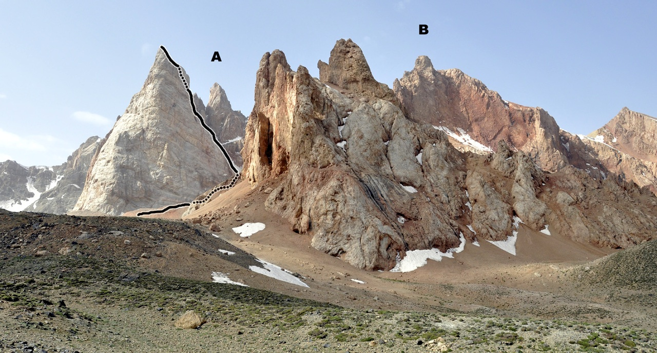 Ibex Horn from north, with ascent route and bivouac site. (A) Ibex Ear East. (B) Ibex Ear West.