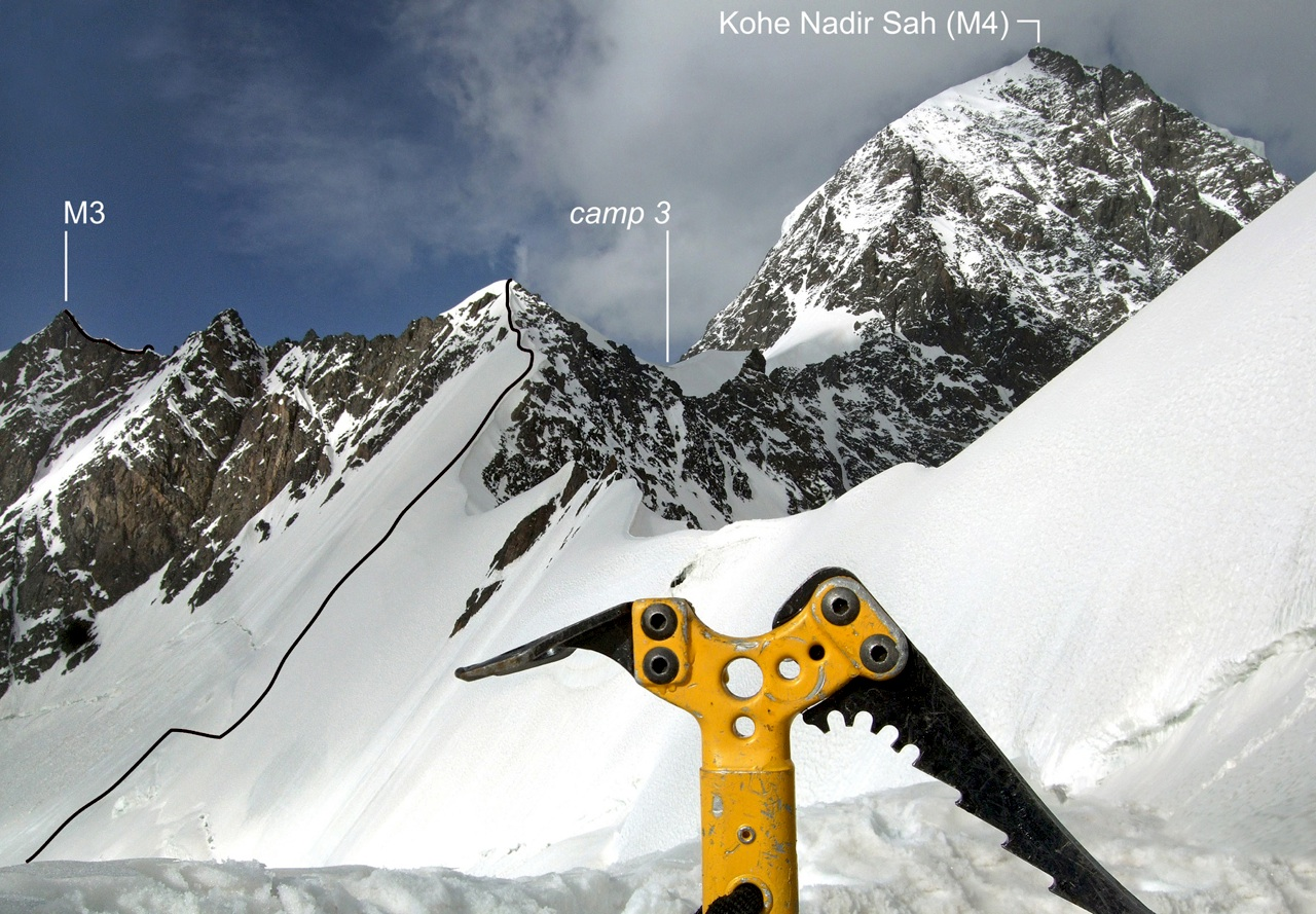 Route from glacier cirque to Camp 3 on Palane Safad. Final section of ascent to M3 is also visible. Original Polish route to Koh-e-Nadir Sah climbs rocky spur up and right from Camp 3, then snow ridge above.