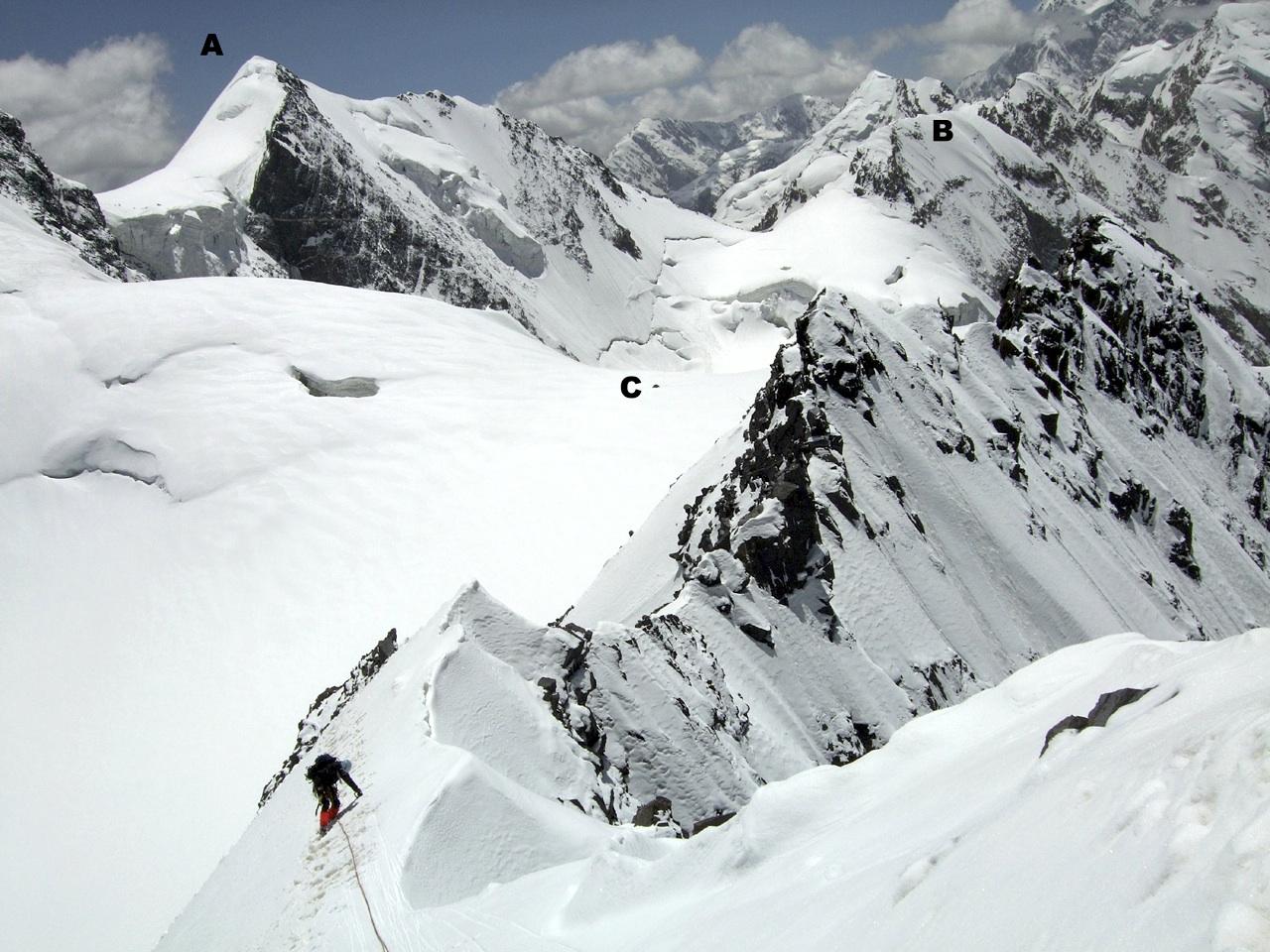 Klaudiusz Duda on south ridge of M3. (A) M4a. (B) M5. (C) Camp 3 on Palane Safad. Snow slopes left of 3 rise toward west-northwest ridge of Koh-e-Nadir Sah.