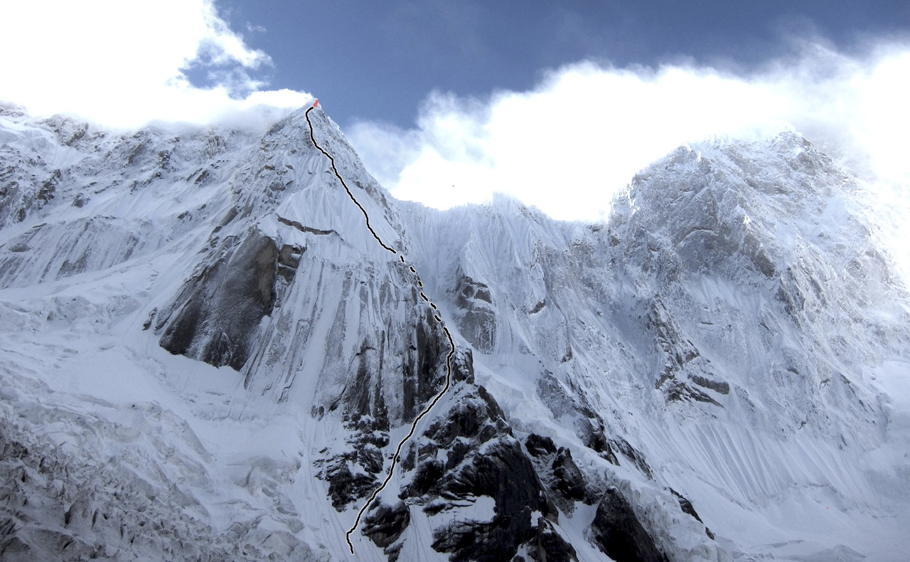 West buttress of Hassin Peak, with Dempster-Kennedy line. Part of K6 (7,282m) to right.