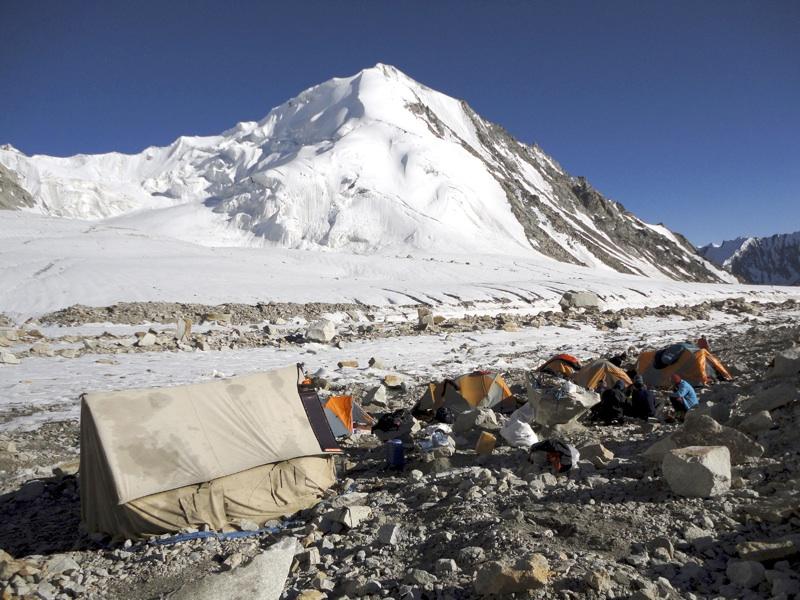 Camp I on Mamostong Glacier, with Junai Kangri (seen from northwest) behind. Jonas Cruces