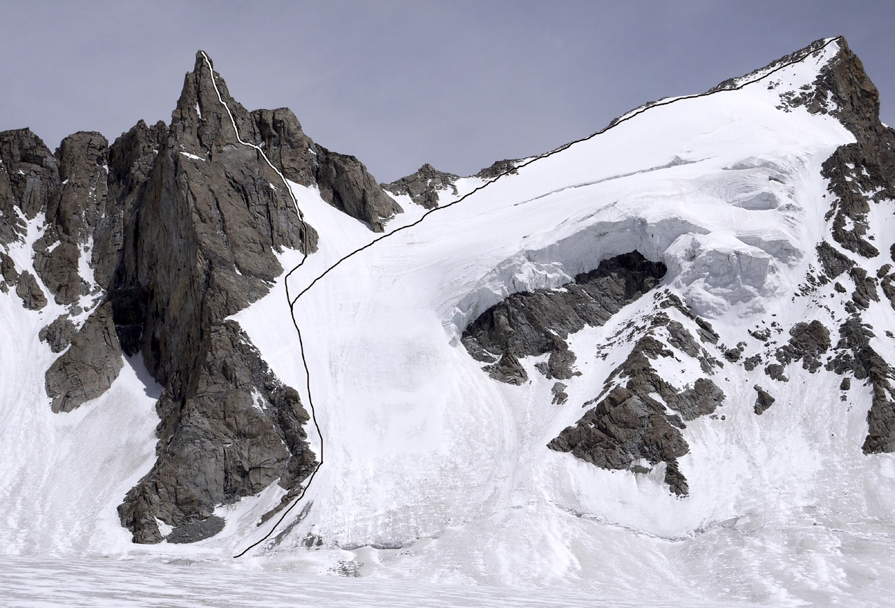 Saserling (left) and Pumo Kangri from west, showing routes of first ascents. Janet Bergman Wilkinson