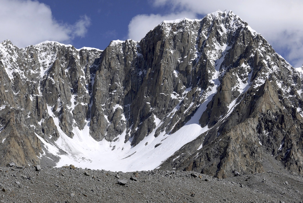 Unclimbed Peak 6,258m, showing two lines attempted during 2011. Janet Bergman Wilkinson