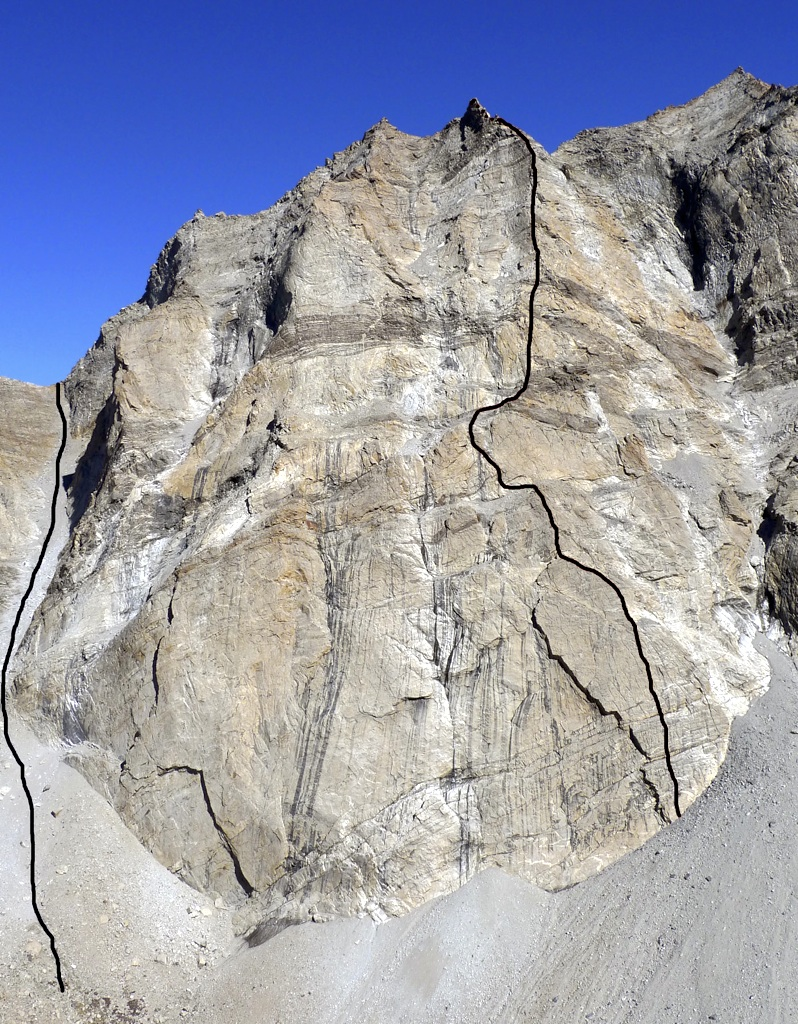 Rock wall above base camp. Left-hand line marks descent. Virgil Scott