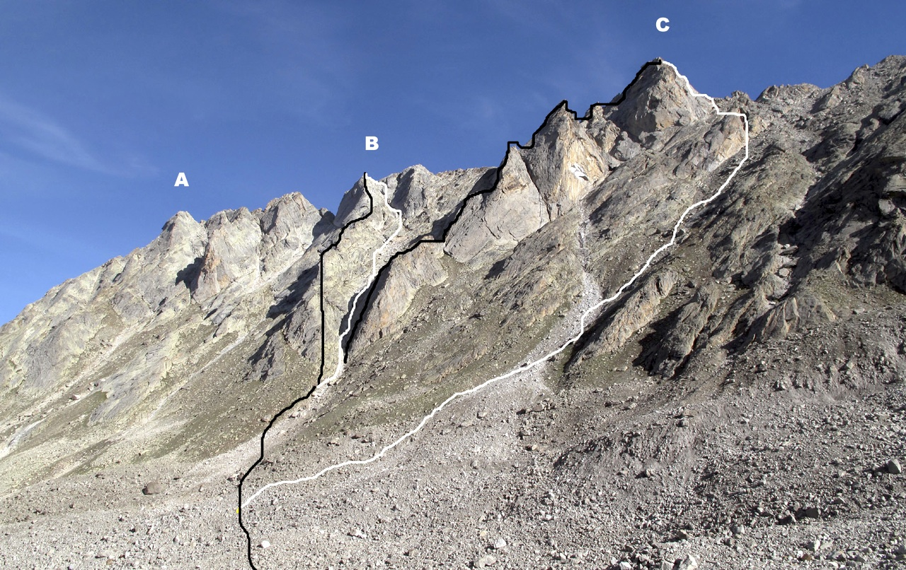 Northern flank of lower Chhudong Valley. (A) Nazomi, climbed by Sebire and Woldendorp in 2008 (AAJ 2009). (B) Gou Gou Peak. (C) Premsingh. Black lines mark ascent routes, Gou Gou Ridge and Trident Ridge; white lines are descents used in 2011. Gerhard Schaar