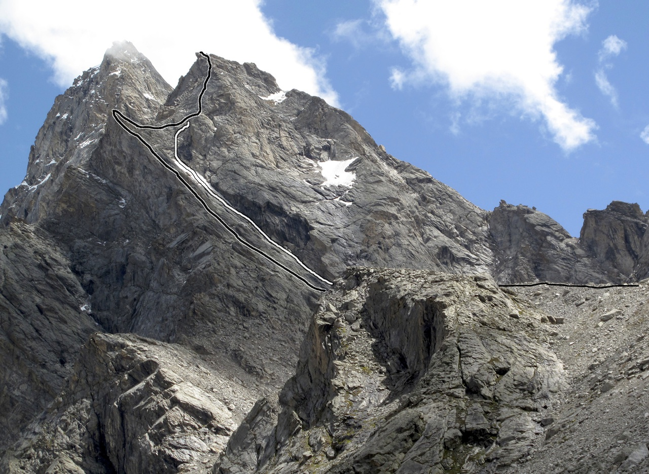 Gutzeke Peak. Black line is ascent on south rib and west pillar; white line descent. Unclimbed higher peak behind has been referred to as Chhudong Matterhorn. Gerhard Schaar