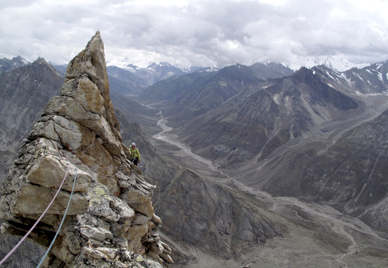 Ines Peschel on Shangrila Ridge. Looking south down main Miyar Valley. Gerhard Schaar.