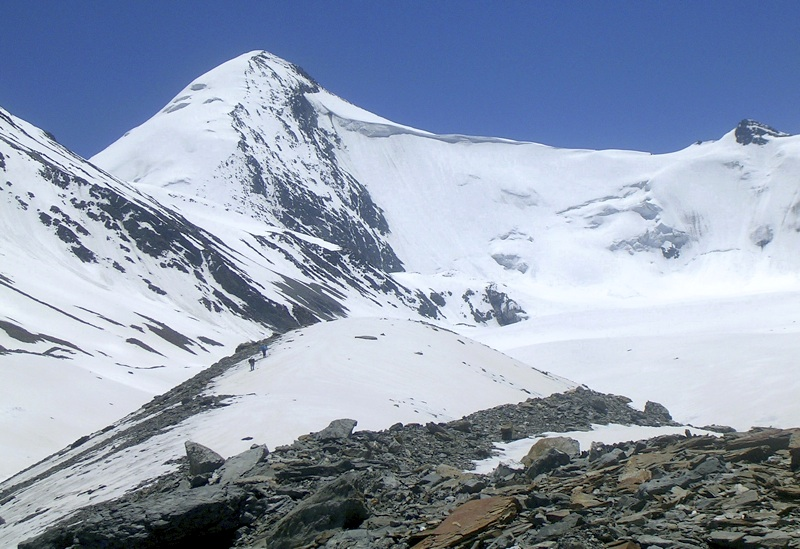 Ache seen from C Glacier. 2009 expedition climbed peak up broad north face/ridge on left. Supplied by Tamotsu Nakamura