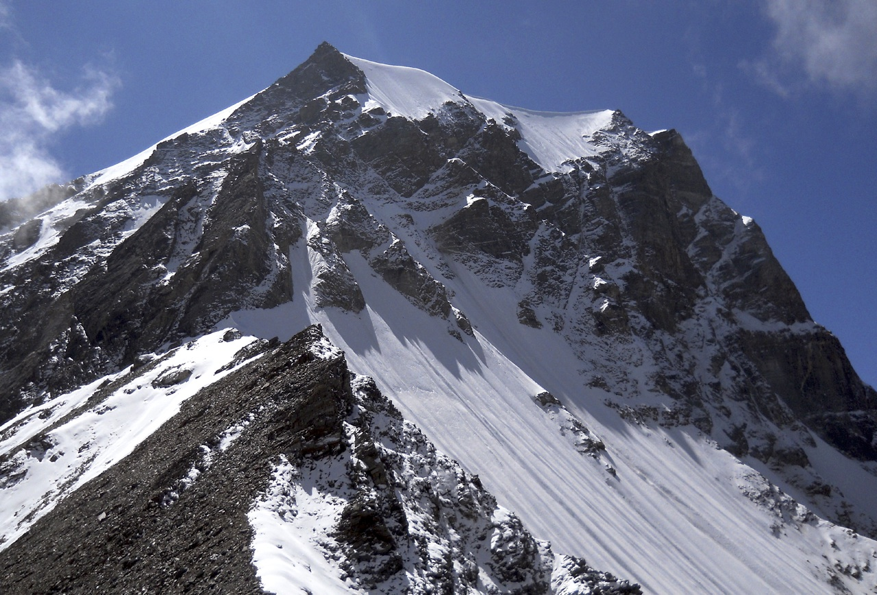 Unclimbed Berthatoli North (5,818m), seen from Deotoli Col to north. Anindya Mukherjee