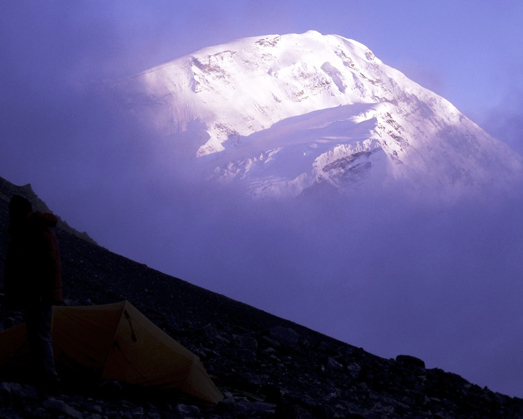 North face of Trisul (7,120m) from a 4,700m camp at foot of Dudh Ganga Col. Anindya Mukherjee