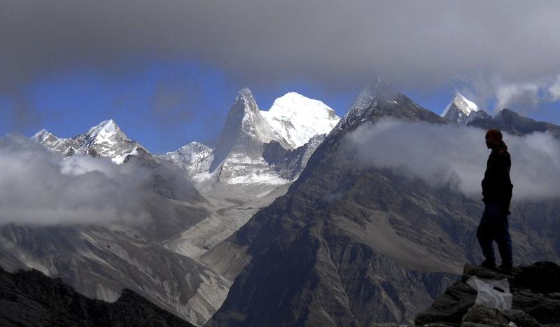 Looking northeast onto Ramani Glacier and, from left to right, Hanuman (6,075m), Purbi Dunagiri (6,489m) through Bagini Col, Changabang (6,864m), Kalanka (6,931m), Rishi Kote (6,236m), and Rishi Pahar(6,992m). Anindya Mukherjee