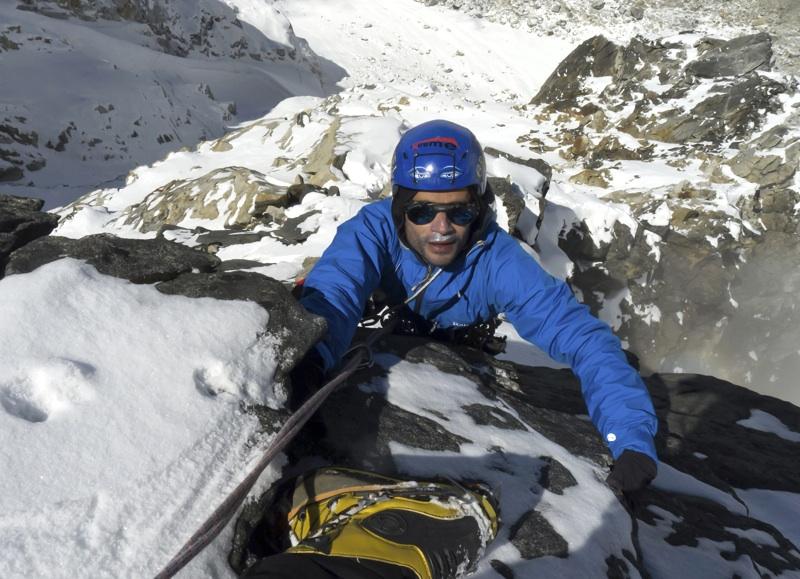 Arun Mahajan on crux rock moves, northwest ridge of Prabha Behin. Roger Payne