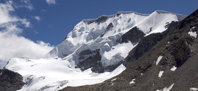 Changwatang from north-northwest. French party crossed small glacier and climbed long snow spur back right to crest of northwest ridge, which they followed left to summit.