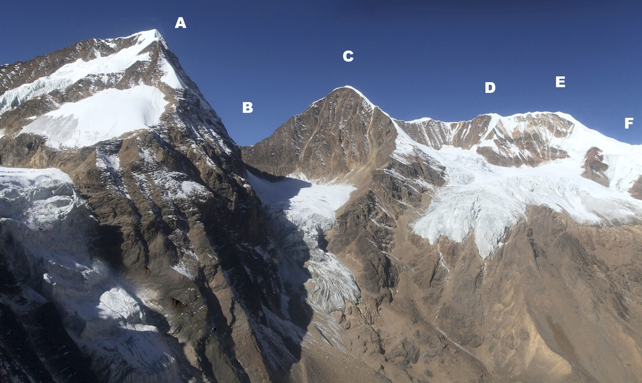 Eastern rim of northern Kanjiroba sanctuary. (A) Peak 5,782m. (B) Col Infranssisable (5,500m), reached by Bailiff and Grobel in 2009 from far side. (C) Peak 5,925m. (D) Hopeless Peak (6,036m). (E) Sanctuary Peak (6,025m). (F) Japanese Pass (5,831m).