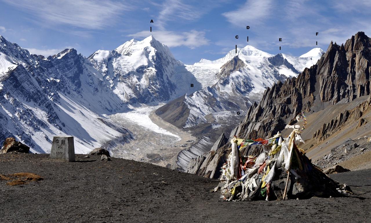 Looking east up Athahra Saya Khola Valley. (A) Pt. 6,621m. (B) Fukan Glacier. (C) Hindu Himal. (D) Panbari. (E) Lilia Peak. (F) Athahra Saya Khola Himal. (G) Athahra Saya Glacier.