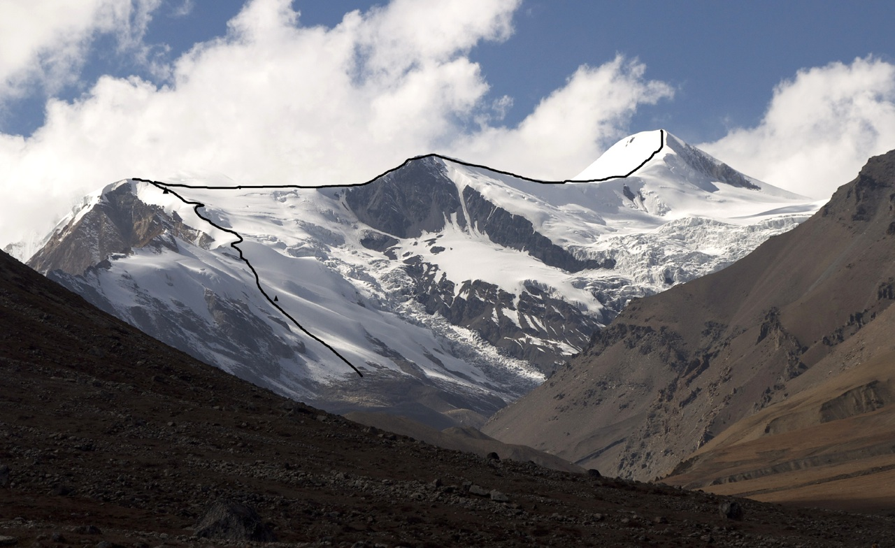 Three Brothers (Hindu Himal, Lilia Peak, and Athahra Saya Khola Himal) and route of ascent with high camps.