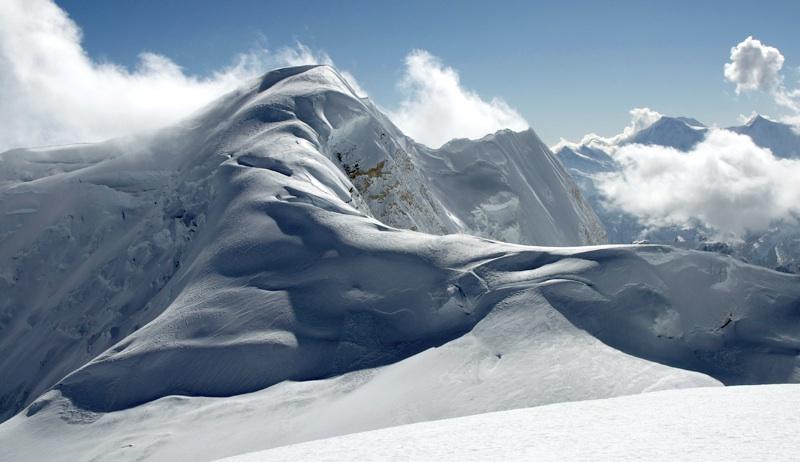 North ridge of Panbari from summit of Athahra Saya Khola Himal.